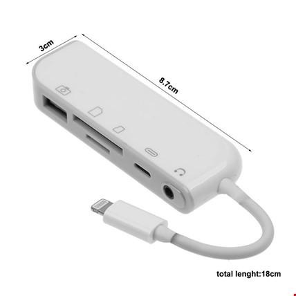 iPhone Lightning 5in1 Kamera Bellek SD TF Kart Adaptörü