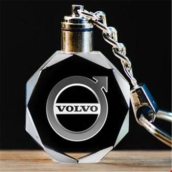 Volvo Logolu Led Işıklı 3D Kristal Led Araba Anahtarlık