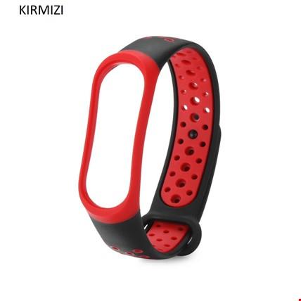 Xiaomi Mi Band 3 4 Akıllı Bileklik TME Kordon Kayış Sport Model Renk: Kırmızı