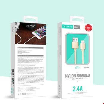 Xipin LX11 iPhone iPad Lightning 2.4A Usb Şarj Data Kablosu 1mt